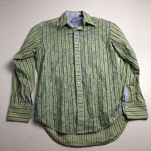Robert Graham Striped Dress Shirt Cotton Medium